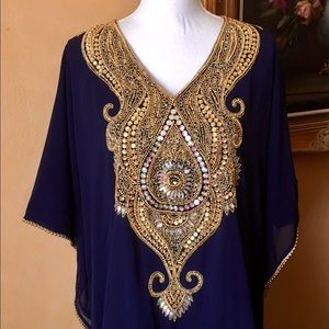 Navy Gold AB Hand Embellished Caftan fits 4-3XL